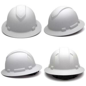 Pyramex Ridgeline Full Brim Hard Hat 4 point Ratchet Suspension Matte White Gr