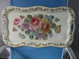 Vintage Toleware Metal Tray Hand Painted Flowers On White 25 X 14 Wow