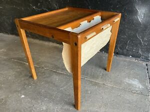 Danish Mid Century Modern Teak And Canvas Magazine Rack Side Table