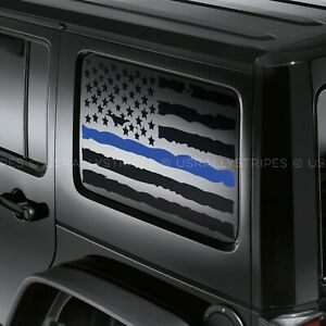 X2 Distressed Usa Flag Blue Line Decal For Jeep Wrangler Jku Hardtop Side Window