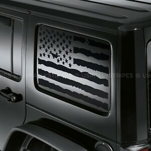 X2 Distressed American Flag Decal Fits Jeep Wrangler Jku Hardtop Side Windows
