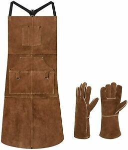 Leather Apron Work Heavy Duty Carpentry And Mechanical Blacksmith With Gloves