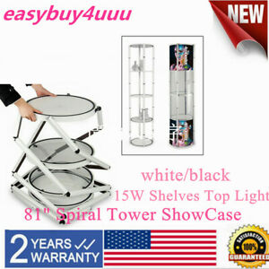 81 Round Spiral Tower Display Case With Shelves Top Light And Clear Panels Ups