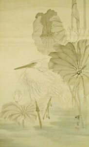 Japanese Painting Hanging Scroll 72 6 Heron Aged Old Antique Egret Japan C106