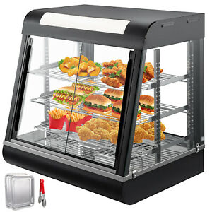 Commercial Food Warmer Court Heat Food Pizza Display Warmer Cabinet 27 glass Sus