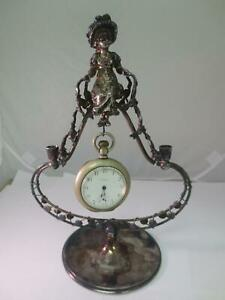 Rare Victorian Silver Figural Maiden Lady Pocket Watch Candle Time Piece Holder