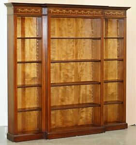 Mahogany Walnut Marquetry Inlaid Breakfront Library Bookcase Part Of Suite