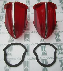1956 Oldsmobile 98 Tail Light Lenses With Chrome Trim Mounting Gaskets
