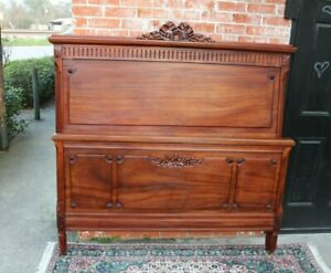 French Antique Carved Walnut Louis Xvi Queen Size Bed Bedroom Furniture