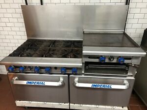 Imperial 60 6 burner 24 Raised Griddle Gas Range Convection Ovens