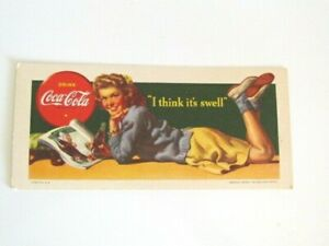 Coca Cola 1942 Preppy Girl I think its Swell Ink Blotter Card unused