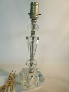 Vintage Table Lamp Cut Glass Crystal Desk Night Stand 12 3 4 Tall