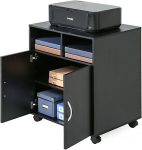Fitueyes Office Cabinet Black Wooden Mobile File Folders Printer Stand On Wheels
