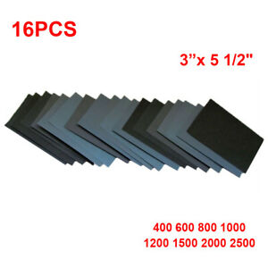 16pcs Sandpaper Grit Set Wood Car Body Parts Silicon Carbide Accessories