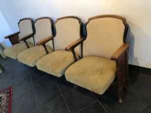 4 Vintage Antique Art Deco Cast Iron Movie Theatre Seats Opera House Chairs