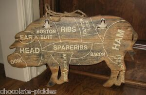 Wood Pig Butcher Meat Chart Wall Sign Message Board Primitive Farmhouse Decor