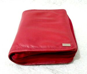 Franklin Covey Red Unstructured Genuine Leather Compact 1 3 8 Ring Planner