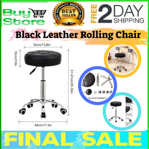 Round Rolling Stool Chair Pu Leather Height Adjustable Stool Swivel Drafting