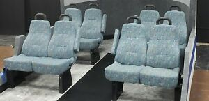 Lot Of 4 Pairs Of Cloth Transit Coach Shuttle Bus Seats Reclining