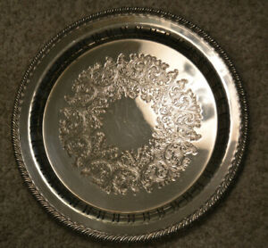 Wm A Rogers 10 Silverplate Etched Serving Tray Platter Rope Braid Edge Pattern