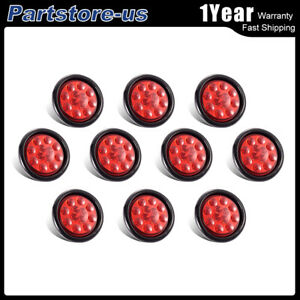 10pcs 4 Round Red Truck Clearence Light Side Marker Light 12led 12v Waterproof