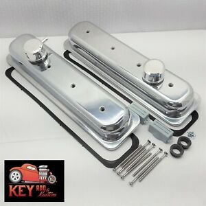 Small Block Chevy Center Bolt Valve Covers Smooth Polish Aluminum Breathers 350