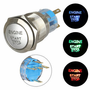 12v 19mm 3 4 waterproof Momentary Engine Metal Push Button Switch Blue Led Light