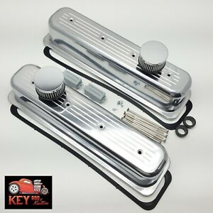 Sb Chevy Center Bolt Ball Milled Polished Aluminum Tall Valve Covers 305 350 Sbc