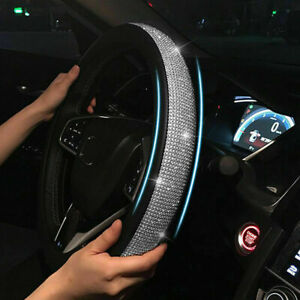 Car Steering Wheel Crystal Sparkled Diamond Cover Pu Leather Skidproof Bling
