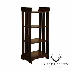Antique Mission Arts And Crafts Oak 4 Tier Bookshelf