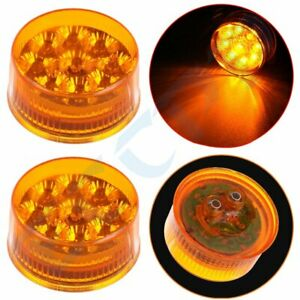 2x 2 Inch Amber Round Side Fender Marker Trailer Lights Signal Tail Turn 9 Led
