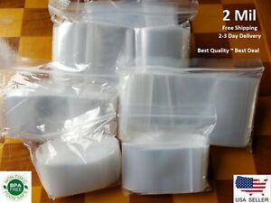 Clear Reclosable Zip Seal Plastic 2 Mil Bags Jewelry Zipper Top Lock Baggies