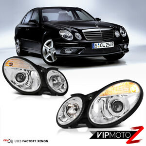 03 06 M Benz W211 E Class Chrome Projector Xenon Hid Lamp Headlight Assembly L R