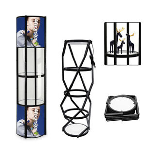81 Round Spiral Tower Display Case W Shelves Top Light And Clear Panels Black