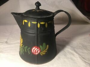 Vintage Copper Bottom Kreamer Coffee Pot Tole Painted Good Condition Wooden Top