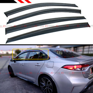 For 2020 Toyota Corolla 4dr Sedan Jdm Smoked Clip on Window Visor W Black Trim