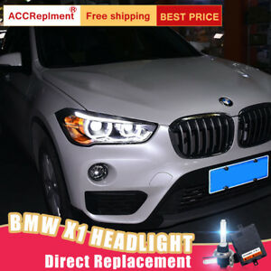 2pcs For Bmw X1 Headlights Assembly Bi Xenon Lens Projector Led Drl 2016 2020