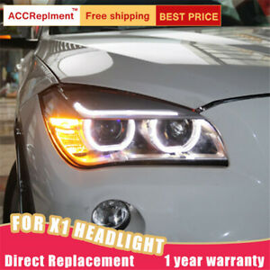 2pcs For Bmw X1 Headlights Assembly Bi Xenon Lens Projector Led Drl 2013 2015