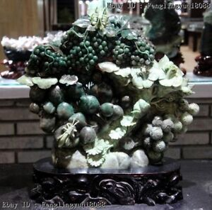 Chinese Natural Dushan Stone Jade Countless Rich Fruits Flowers Art Sculpture