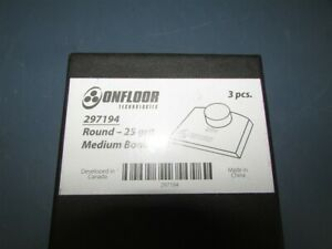 New Box Of 3 Onfloor Technologies 297194 Round 25 Grit Medium Bond