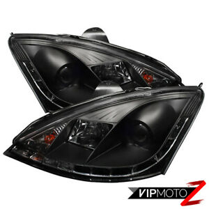 00 2004 Ford Focus New Pair Black Projector Headlight R8 Style Drl Running Lamp
