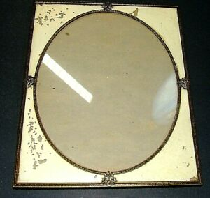 Antique Vintage Art Deco Reverse Paint On Glass Filigree Picture Frame 9 X11