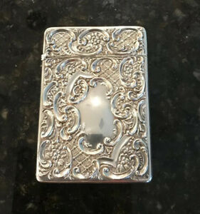 Victorian Sterling Silver Calling Card Case Hallmarked Antique