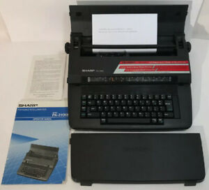 Sharp Pa 3100e Portable Electronic Typewriter Intelliwriter Cover W Manual Euc