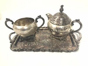 Vintage Silver Plate Tea Set 1883 F B Rogers Creamer Sugar And Tray