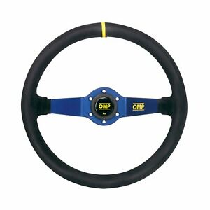 Omp Rally Steering Wheel Suede Leather Blue Anodized Race Rally Tuning