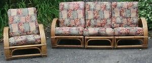 Vintage Calif Asia Rattan Couch And Side Chair Probably Original Cushions