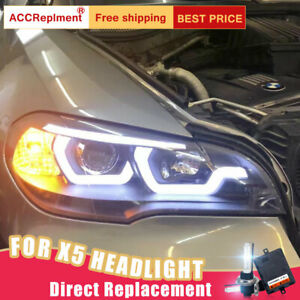 For Bmw X5 E70 Headlights Assembly Bi Xenon Lens Projector Led Drl 2007 2013