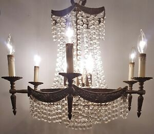 Antique Crystal Chandelier Vintage French Basket 12 Light Fixture Ornate Brass