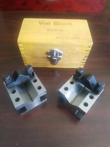 Vee Block Set 8022 ii Hardened Steel W Original Timber Wood Case